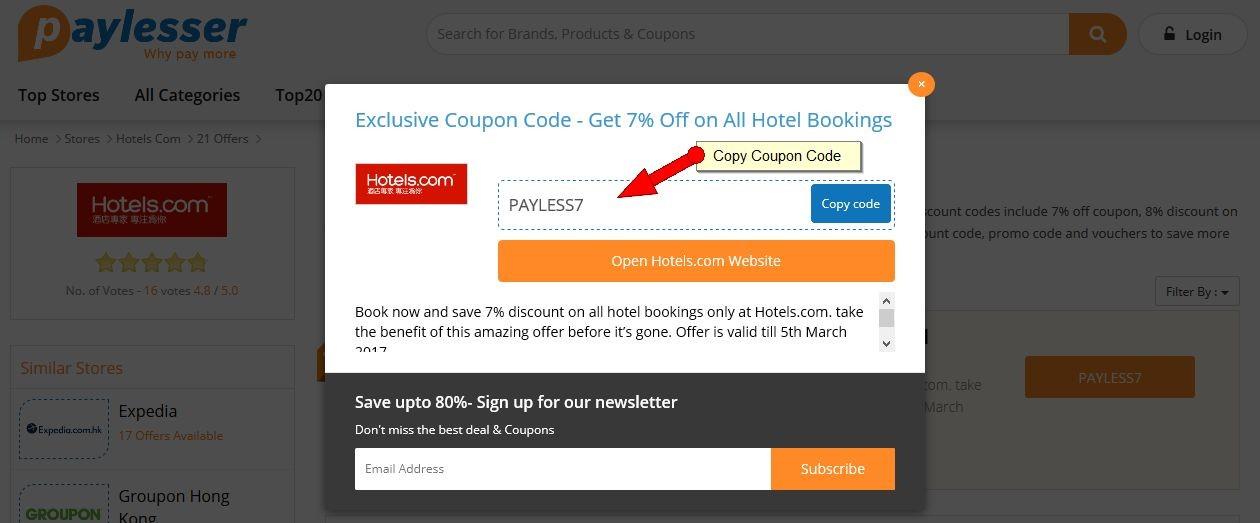 Hotels.com Coupon HK