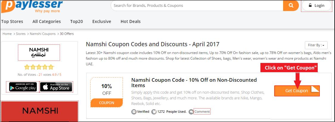 get namshi coupon code