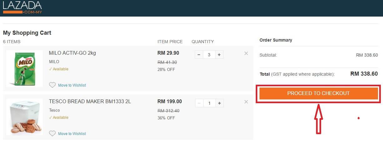 shopping cart lazada malaysia