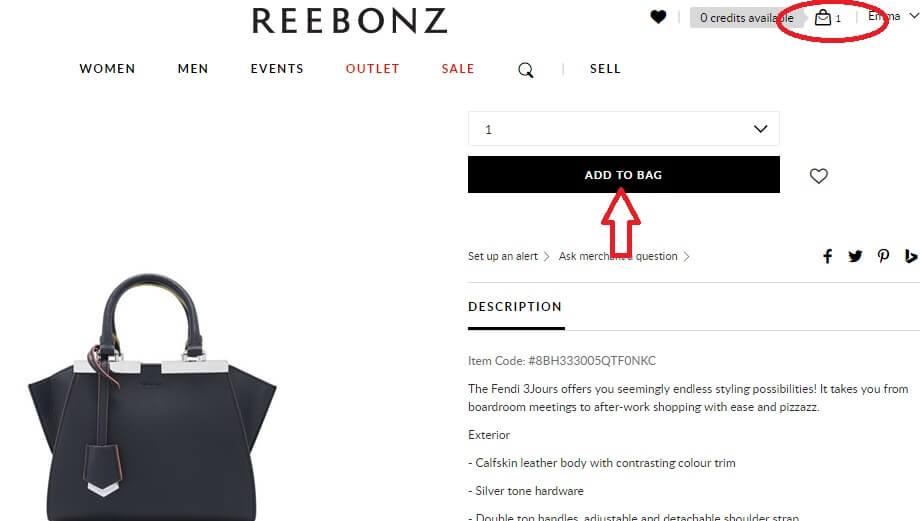 add products reebonz shopping cart